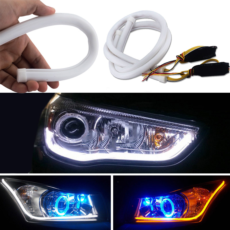 2 x 60cm Car Auto White Amber Sequential Flow Strip LED Flexible DRL Headlight Turn Signal Switchback Light Daytime Running Lamp 2 5w 12x5050 smd led green light car decoration daytime running flexible strip lamp 12v