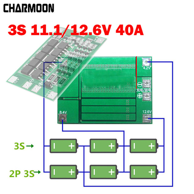 Battery Accessories 3s 40a 11.1v 12.6v 18650 Lithium Battery Protection Board For Screwdriver Drill 40a Current With Balance
