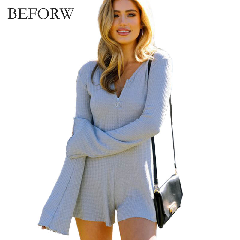 BEFORW Full Sleeve V Neck Shorts Casual Playsuits Womens Jumpsuit Sexy Body Suit Playsuit Overalls Coveralls Gray Knitted Short