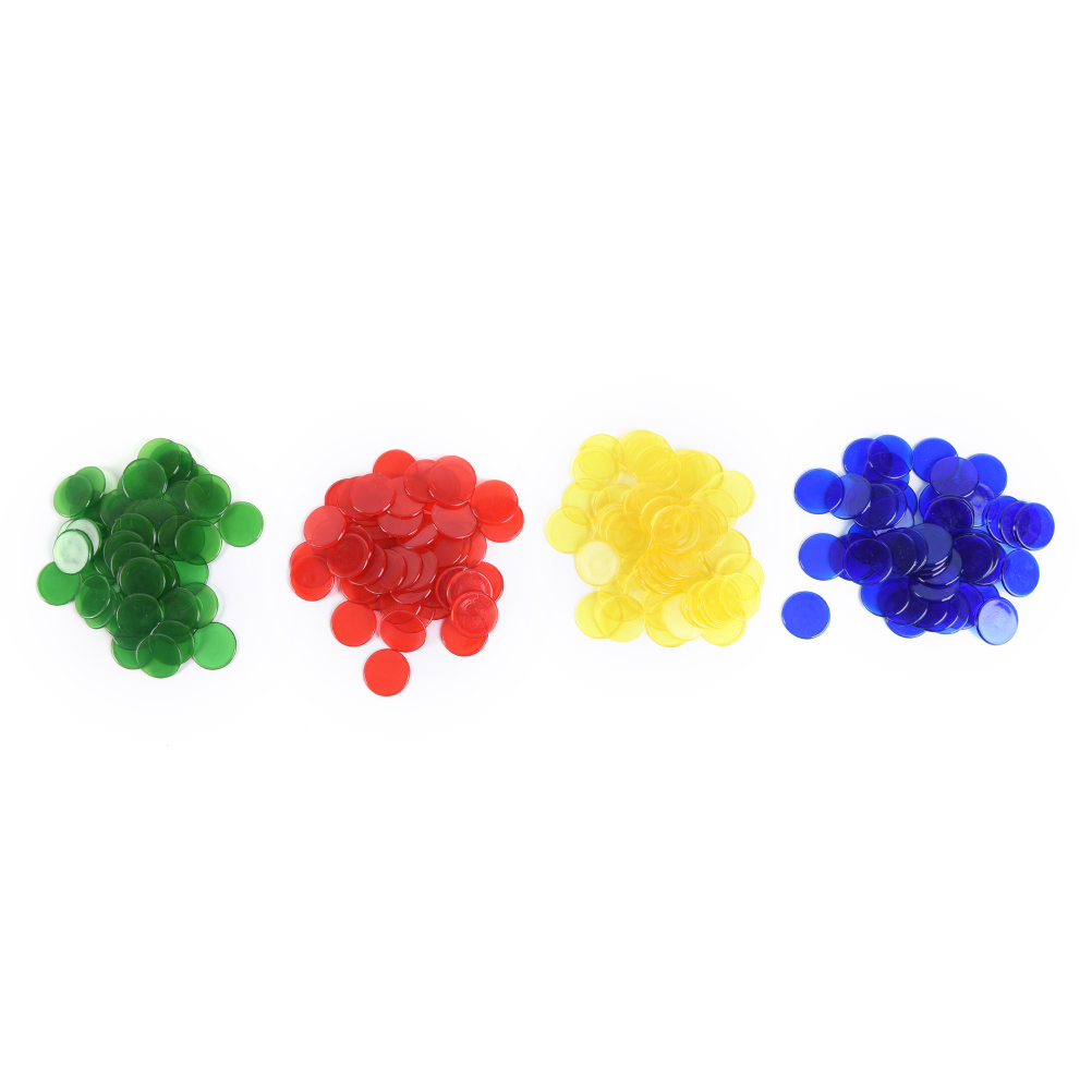 50pcs 2cm 4 Colors PRO Count Bingo Chips Markers for Bingo Game Cards
