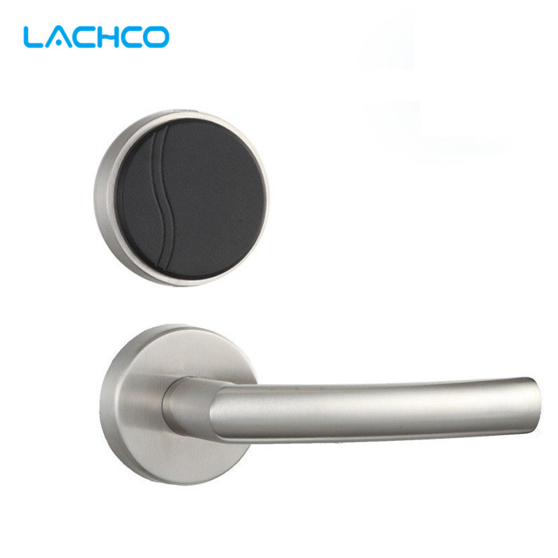LACHCO Smart Electronic Door Lock RFID Card Keyless Lock Latch with Deadbolt Stainless Steel Silver Free-style Handle L16062BS electronic rfid card door lock with key electric lock for home hotel apartment office latch with deadbolt lk520sg