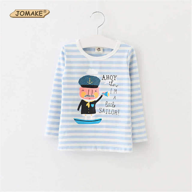 Cartoon Captain Children Blue And White Stripe Kids Long Sleeve T-Shirts For Girls And Boys New Spring/Autumn Casual Clothes