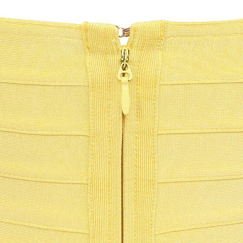 Wstępnie sprzedaż cytryna żółty bez ramiączek Sexy kobiety 2019 lato nowy z dzianiny mocno Bodycon bez rękawów urodziny kolana długość sukienki bandaż