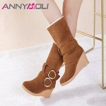 ANNYMOLI Autumn Mid Calf Boots Women Boots Buckle Wedges High Heel Short Boots Fashion Round Toe Shoes Ladies Winter Size 34-43 цена в Москве и Питере