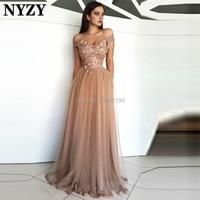 63f7617101 Champagne Arabic Evening Dress 2019 NYZY E185 Tulle Off Shoulder Crystal  Dubai Gown galajurken abiye gece elbisesi