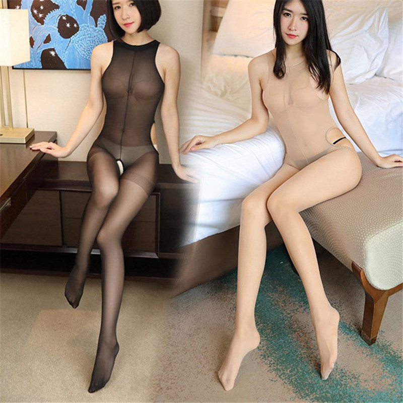 Sexy Tights Crotchless Sheer Bodystockings for Women Four Sides Open Crotch Stockings Full Body Ultra-thin Transparent Pantyhose