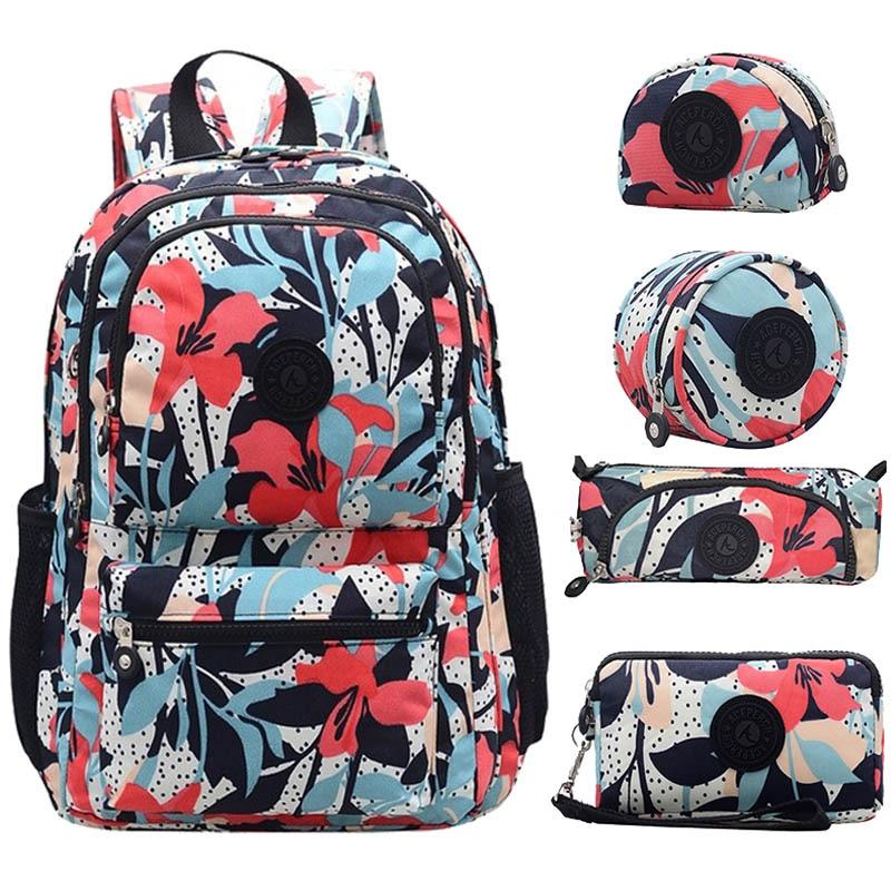 ACEPERCH Women Original Backapck 5Pcs Set Mochila Escolar Feminina School Bag For Teenager Girl Nylon Backpacks