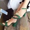 2017 Т-Ремень Толстые Высокой Пятки Сандалии 5.5 см Горный Хрусталь Лодыжки Ремень Зеленый Летняя Обувь Sandales Chaussures Femmes