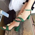 2017 T-Strap Thick High Heel Sandals 5.5cm Rhinestone Ankle Strap Green Summer Shoes Chaussures Femmes Sandales