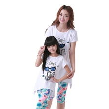 Summer short sleeve family's clothes mother- child suit cute cotton cartoon cat sets of summer clothes