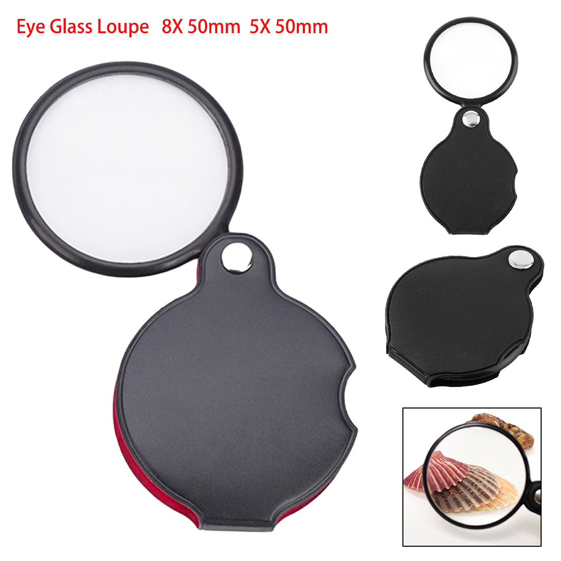 8X 50mm 5X 50mm Mini Pocket Folding Jewelry Magnifier Magnifying Eye Glass Loupe Lens