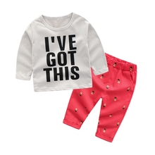 Autumn Baby Clothes Set Autumn Spring Girls Long Sleeve Letter T-shirt + Red Pants 2pcs Suit Kids Boy Clothing