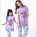 2016 Brand Summer Family Cartoon Cat Cotton Clothing Set Mother Girl Short Sleeve T-shirt+Print Pants Mom Daughter Clothing Set