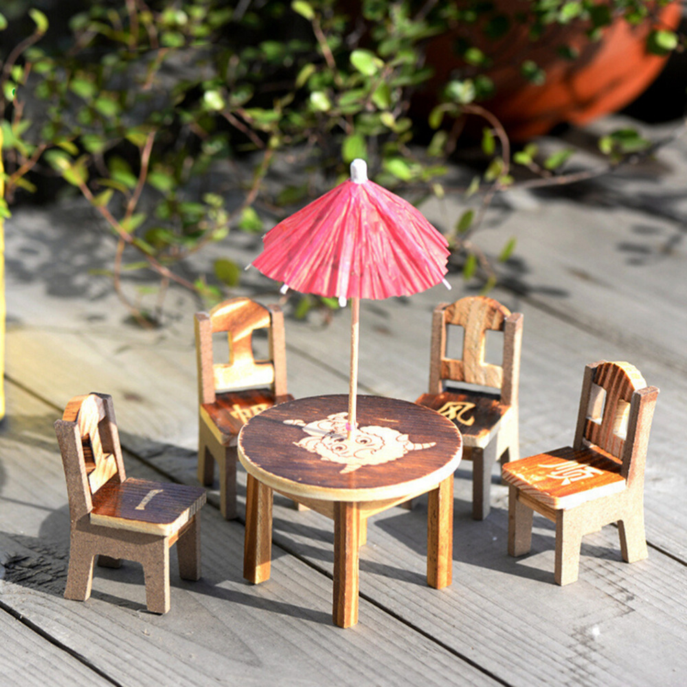 Wood Crafts Pattern Random Miniature Furniture Doll Ornaments 1set Wooden  Mini Dining Room Table Chairs Umbrella Set Toy In Figurines U0026 Miniatures  From Home ...