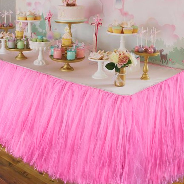 Baby Shower Table Decorations 10080CM Tulle Skirt Wedding Birthday Party Cloth High Quality 6Colors