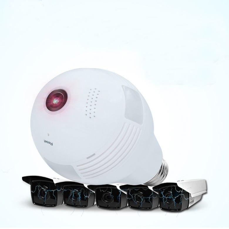 LED inalámbrico 960P 360 cámara domo Wi fi FishEye Mini CCTV VR Cámara bombilla - 5