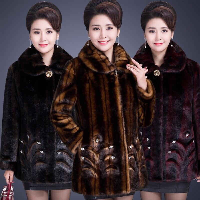 HTB1SAXoKXmWBuNjSspdq6zugXXaM 2020 Winter Women's Fur Coat Faux Mink Fur Jackets Plus size 5XL Middle aged Female Diamonds Thicken Noble Fur Coats OKXGNZ 2138