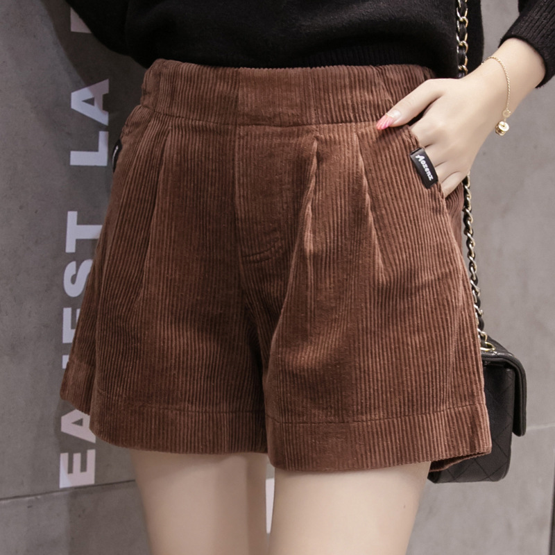 Lastic High Waist Corduroy Shorts Women Casual Streetwear Shorts Female Loose Summer Korea Button Shorts 2019 Plus Size S-5XL