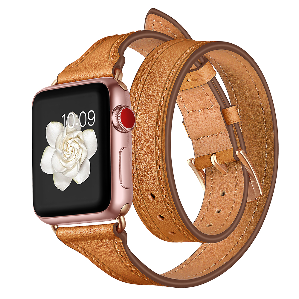 Genuine Leather Loop strap For Apple watch band 42mm 38mm 40mm 44mm iWatch Series 4 3 2 1 Double Tour Wrist Bracelet belt цена