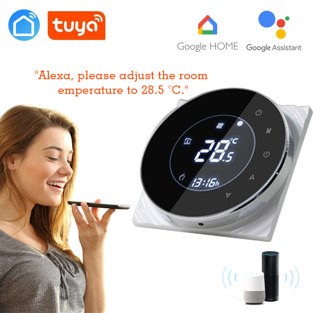 LCD Touch Screen Water Heating Thermostat Weekly Programmable Room Temperature Controller 3A 95-240V Tuya App