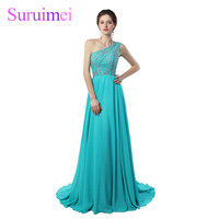 Free Shipping Custom Made Sexy One Shoulder Prom Dress Long A Line Flowing Chiffon With Beading