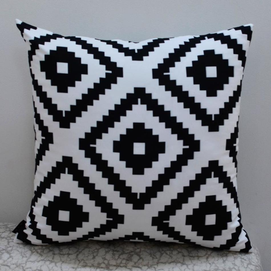 "18*18 "" Modern Black White Abstract Geometric Printed Throw Pillow Case for Bedding"