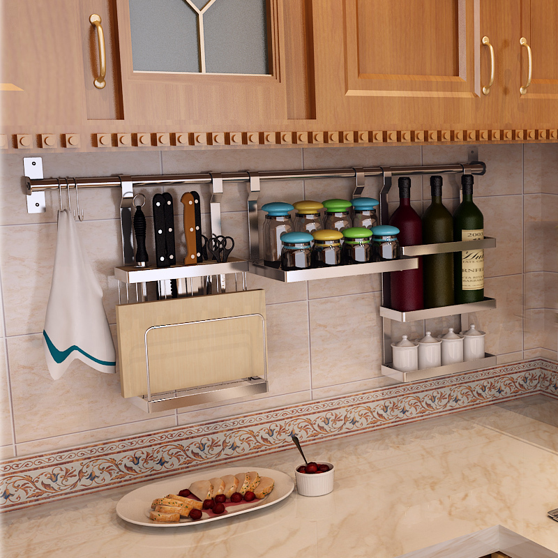 304 Stainless Steel Kitchen Shelving Storage Wall Shelf Tool Holder Lid Rack  Packages DIY Seasoning Sauce In Kitchen Knives From Home U0026 Garden On ... Amazing Ideas