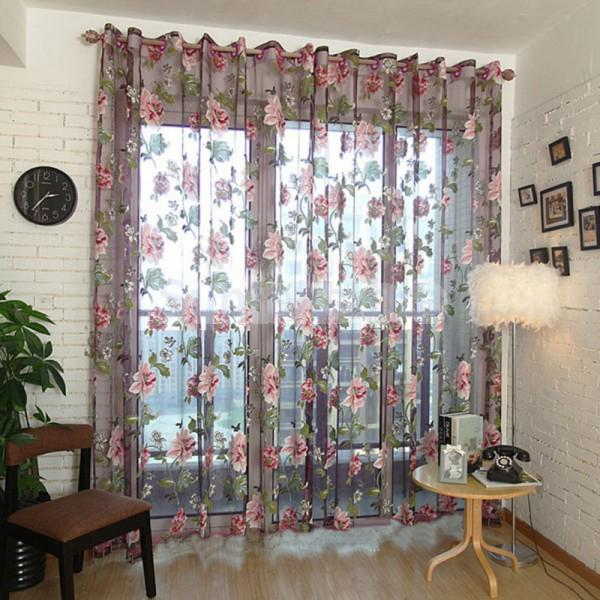 Wine Red Flower Voile Window Curtain Sheer Tulle Drape Valance