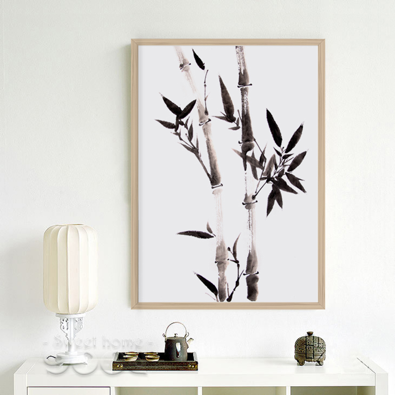 Watercolor Black Bamboo Canvas Art Print Poster, Chinese ...
