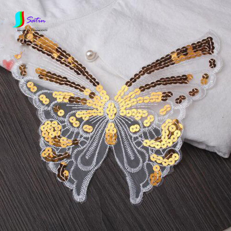 Apparel Sewing & Fabric Search For Flights Lace Embroidery Sequins Butterfly Cloth Organza Beads Garment Decoration Patches Decals Hand-stitched Patches 3pcs/lot S0147m To Win Warm Praise From Customers