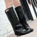 AA268 tamaño Grande 34-43 venta CALIENTE de la nueva marca de moda de las mujeres botas de moto de cuero cuñas zapatos de mujer otoño invierno de la rodilla de alta botas