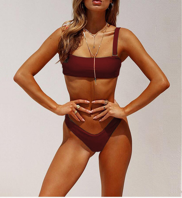42e71a8a3d Women High Waist Sexy Strap Bikini Boob Tube Top Swimsuit Solid Color Bathing  Suit Sexy biquiniSwimsuit Bathing Suit