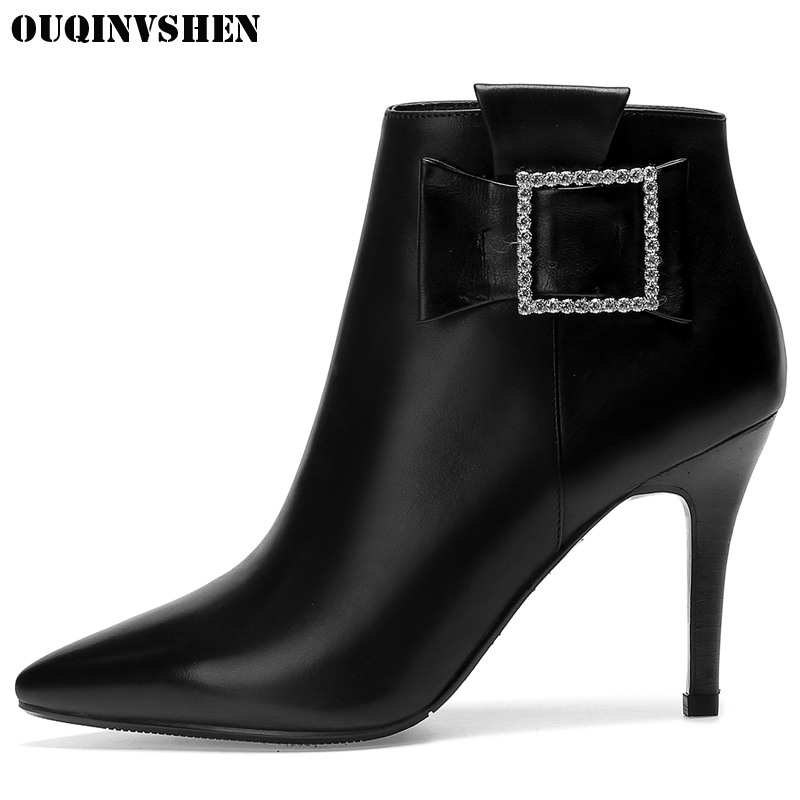 OUQINVSHEN Pointed Toe Thin Heels Women's Boots Casual Fashion Zipper Women Ankle Boots Buckle Crystal High Heels Ladies Boots 2016 custom made fashion brown short ankle boots for women pointed toe lace up platform thin heels stiletto ladies buckle boots