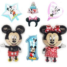1pc Large 110cm Mickey Minnie Aluminium Foil Air Globos Birthday Party Decorations Kids Baby Shower Balloons