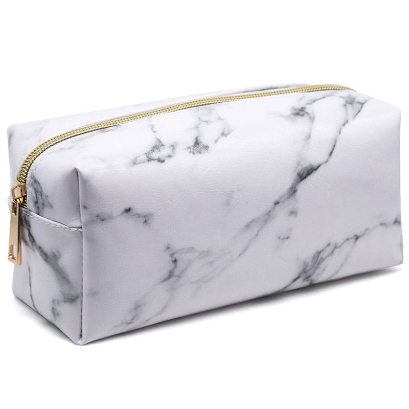 New Style Fashion Marble Multi-Function Purse Box Travel Makeup Cosmetic Bag Toiletry Pencil Case