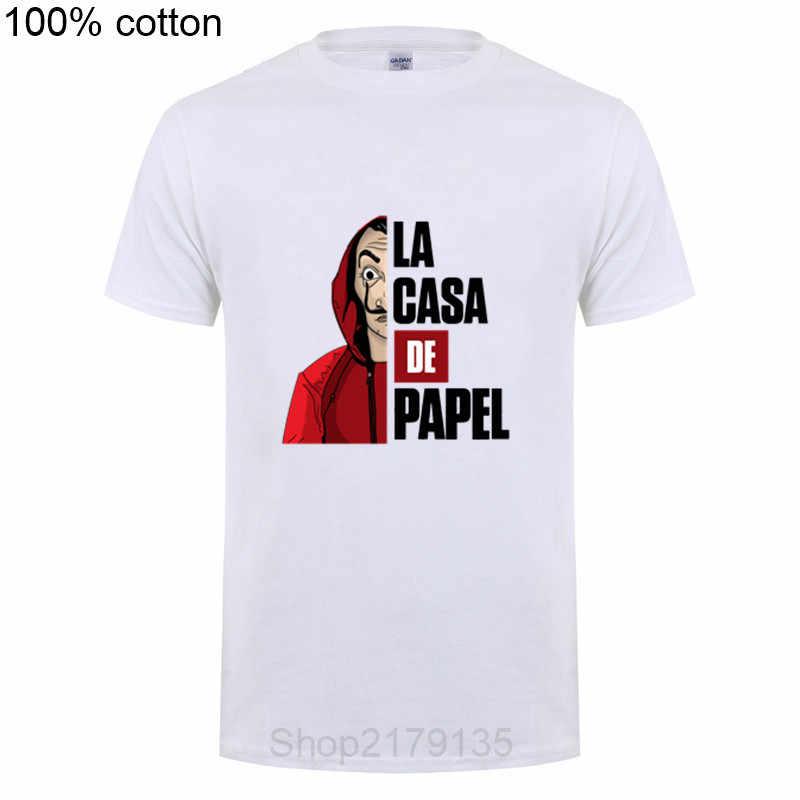 Famosa Casa de Papel Dinheiro Assalto La Casa de Papel T Shirt T-shirt de Manga Curta Para Os Homens Plus Size Algodão equipe Camiseta Camiseta
