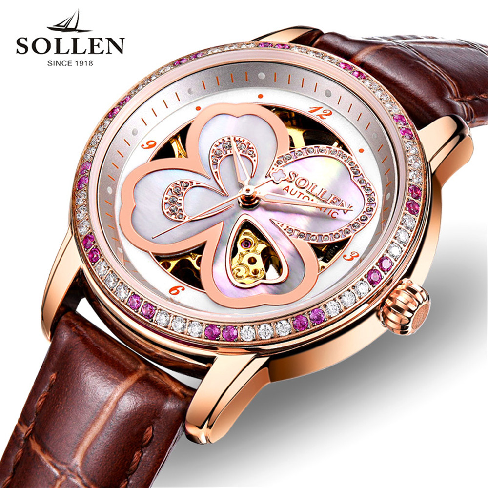 2017 Genuine Watch Ladies SOLLEN Automatic Mechanical Watch Leather The Hollow Business Casual Waterproof Relogio Feminine  2017 Genuine Watch Ladies SOLLEN Automatic Mechanical Watch Leather The Hollow Business Casual Waterproof Relogio Feminine