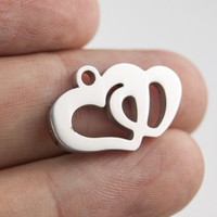 100% Stainless Steel Mini Double Heart Charm Pendant For Jewelry Making Couple Gift Mirror Polished Wholesale 100pcs
