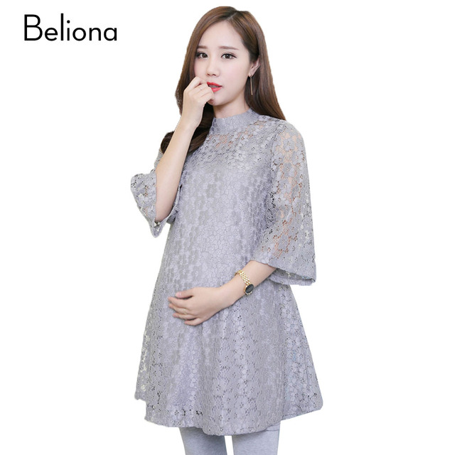 Three Quarter Hollow Lace Maternity Dresses Mini Pregnancy Clothes Spring Summer Gray Pregnant Clothing for Pregnant Women