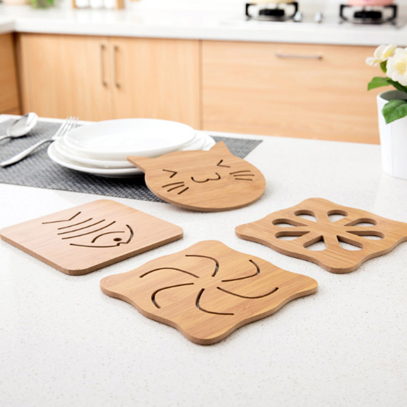 1PC Wooden Cartoon Table Pad Insulation Heat Placemat Creative Cute Water Cup Mats Table Decoration Kitchen Tools E