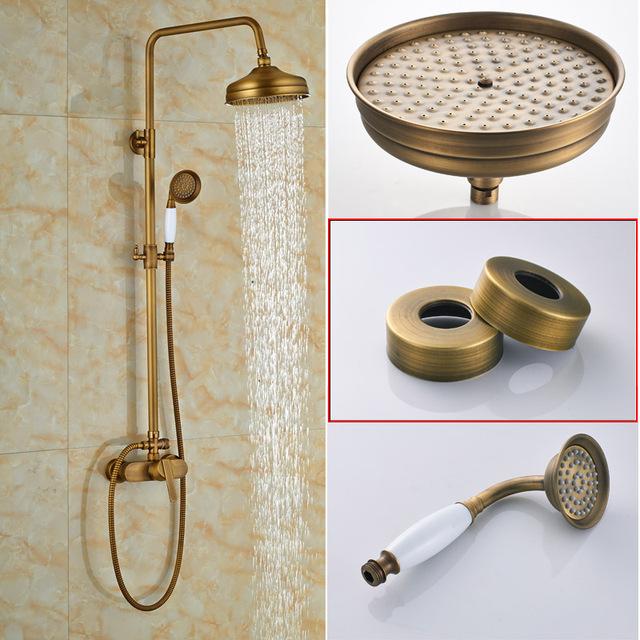 Brass Antique Rainfall Shower Set Faucet Single Handle Outdoor Shower Mixer Tap Brass Rainfall Shower Mixer with Handshower