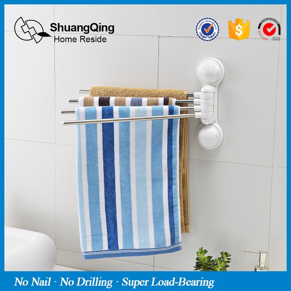 4 Layer Rotation Towel Rack Sucker Wall Mounted Towel Holder ...