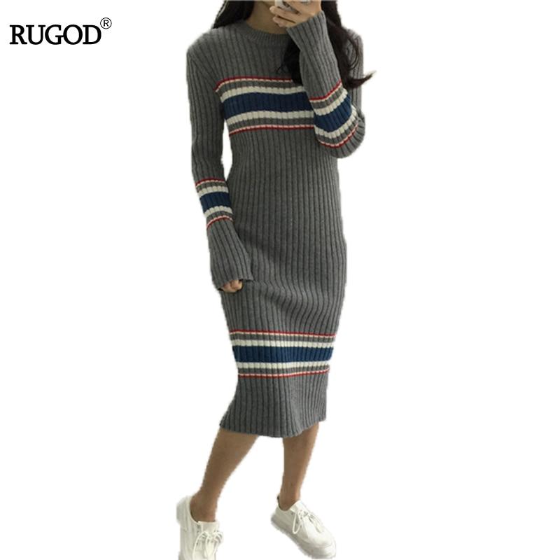 RUGOD O neck Autumn Striped Dress Female Preppy Style Elegant Winter Dress For Women 2018 Fashionable