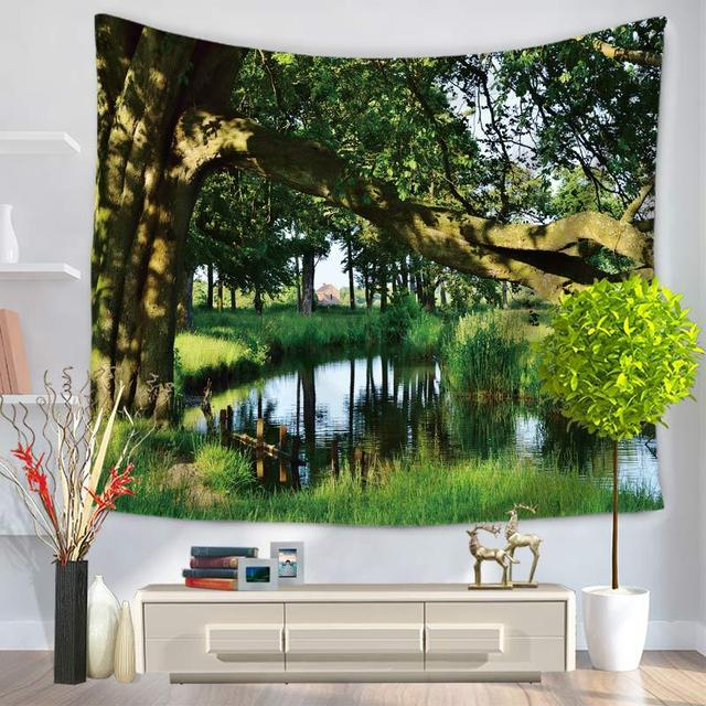 Rubihome Hanging Wall Tapestry Design Green Forest Home Decor Yoga Beach Towel Throw Rug Blanket