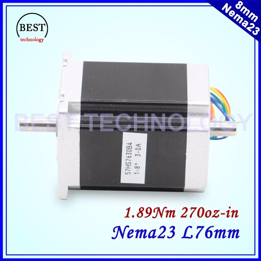 NEMA23 schrittmotor dual welle 57x76mm D = 8mm 1.89N.m 3A 4-Blei 1.8deg doppel welle Für CNC maschine und 3D drucker!