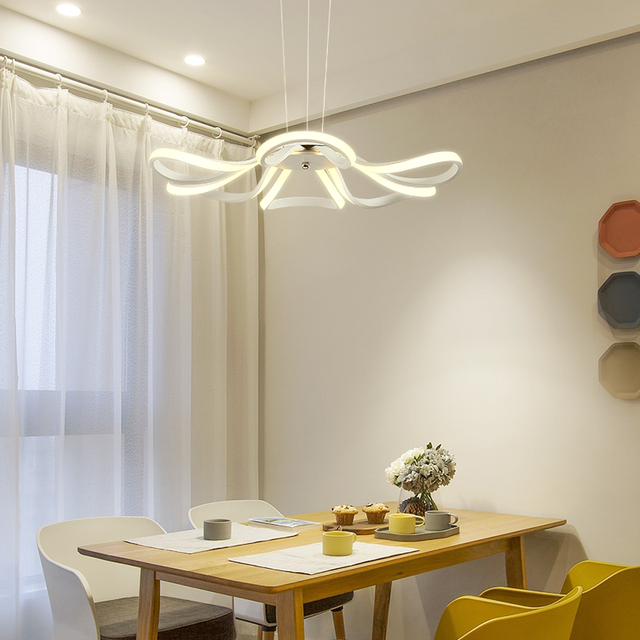 Modern LED Pendant Light Living Room Decor Acrylic Dimmable Flower Shape Hanging Lamp with Butterfly Lamparas Lustre