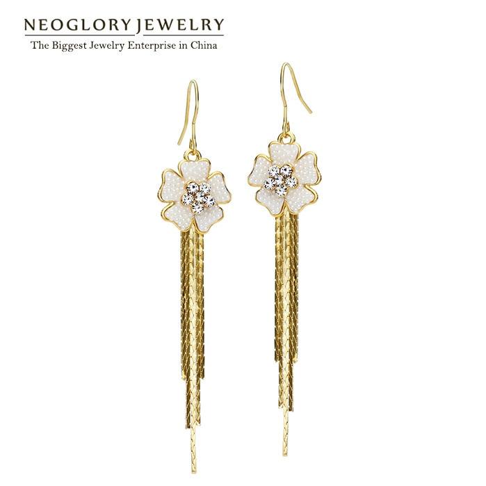 df28f8b48f5c Neoglory cascada luz amarillo oro color simulado perla tessel Pendientes  para las mujeres joyería 2018 nuevo PE1 CLE