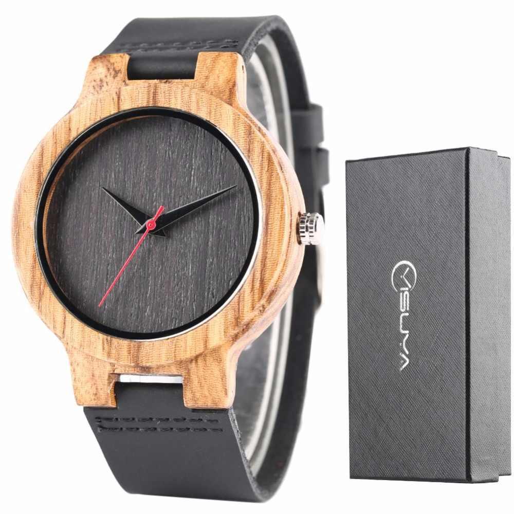Reloj de hombre Simple de bambú de madera de ébano reloj de cuarzo negro elegante azul real reloj de hombre hora hombre cuero genuino con Caja de Regalos