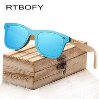 RTBOFY Wood Sunglasses For Women Men Bamboo Frame Glasses Handmade Wooden Eyeglasses Unisex Shades With Free