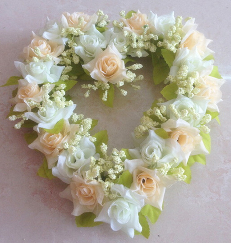 new wedding decoration 20x20cm artificial silk rose flower door wreaths heart shaped wedding door decoration 6